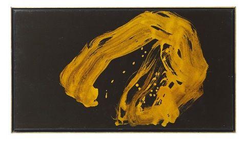 "Shiryu Morita (Japanese, 1912–1999)|Title: A calligraphy by Morita Shiryu (1912-1998) displaying the character ""En"" (circle ) , 1967 | Medium: Aluminum flake pigment in polyvinyl acetate medium, yellow alkyd varnish on paper | Size: 43.5 x 80 cm. (17.1 x 31.5 in.)"