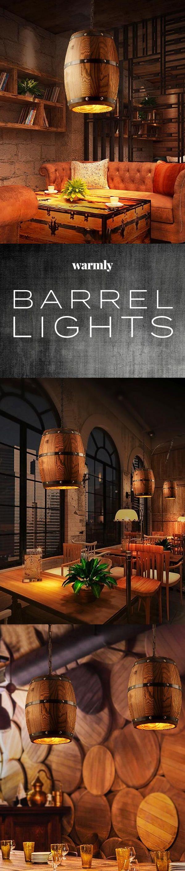 Erato – Hanging Wooden Wine Barrel Light