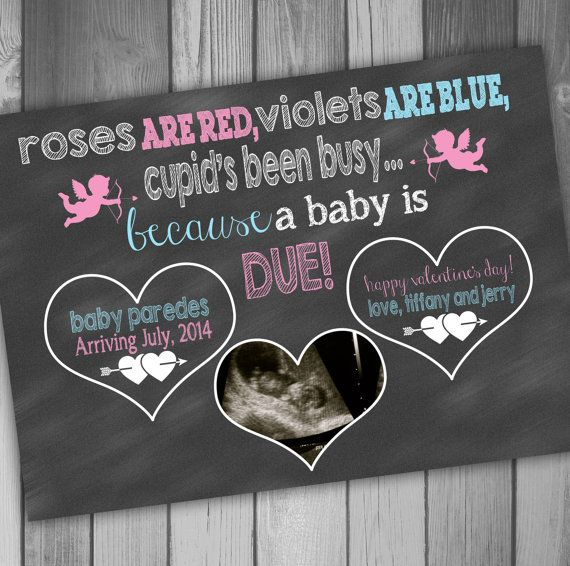Too cute! Pregnancy Announcement Card Valentines Day Photo Pregnancy Announcement Baby Ultrasound Sonogram Card Printable Pregnancy Announcement