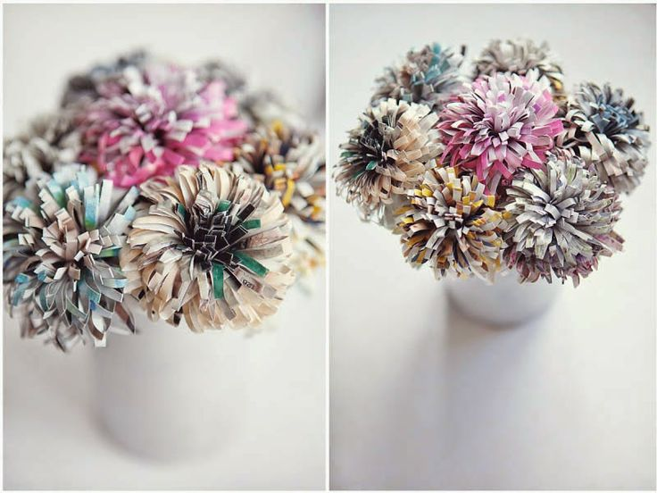 DIY Χάρτινα Λουλούδια από Παλιά Περιοδικά