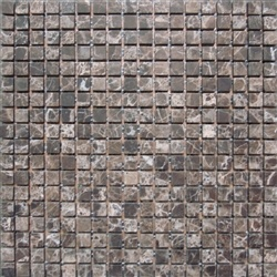 "Stone Mart USA's  5/8""x5/8"" Emperador Dark Mosaic Tumbled Marble Mosaic Tile"