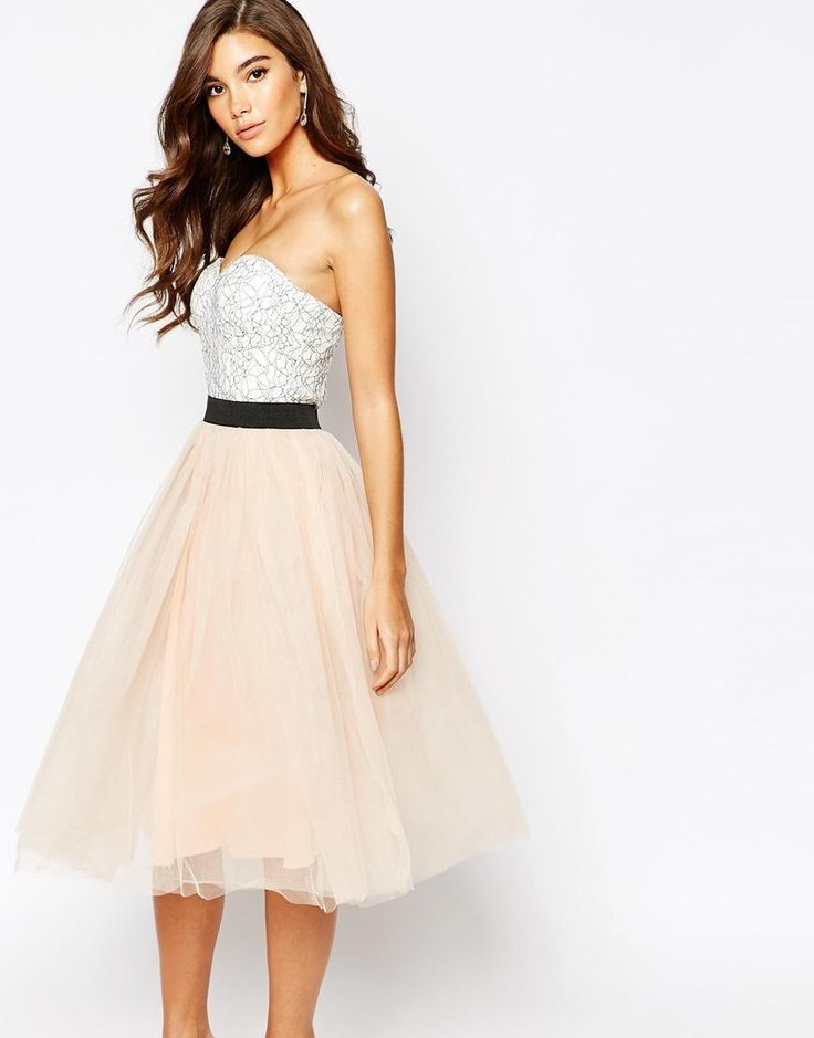 Rare | Rare London Lace Prom Midi Dress With Tulle Skirt at ASOS