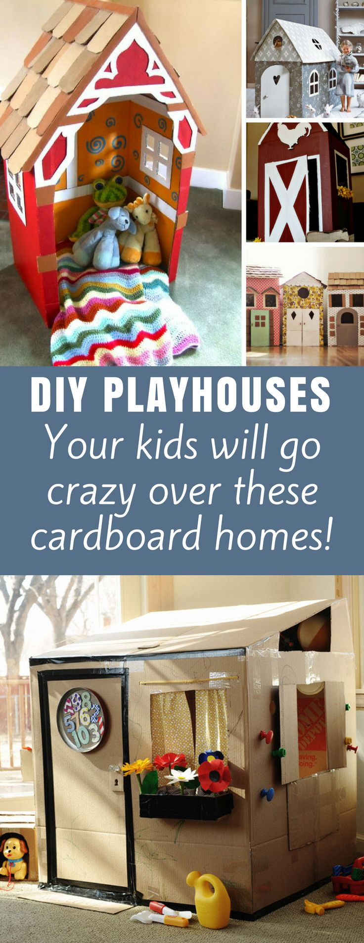 DIY Cardboard Playhouses - they always say kids love the box most in a gift - and they'll go nuts over these cardboard box houses they can play in all day! #DIY #kids  #crafts