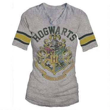 Muggle or Wizard, you'll look great in this Hogwarts crest V-neck shirt.