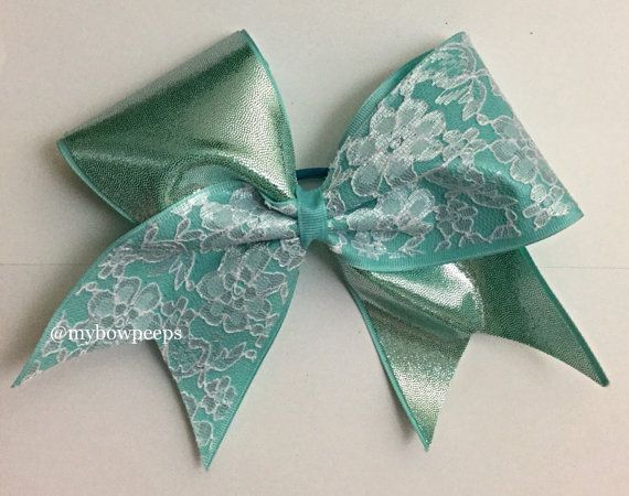 Teal and lace cheer bow by MyBowPeeps on Etsy