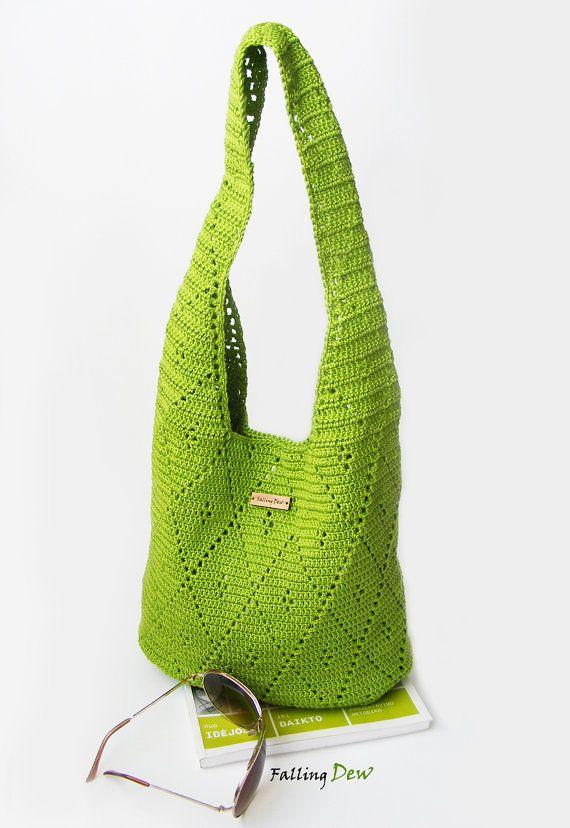 Crochet Handbag / Crochet Purse, Spring Handbag / Summer Bag, Green Handbag, Cotton / Full Lining / Summer Fashion Handbag on Etsy, £42.00