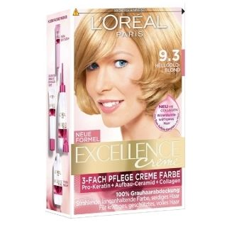 L'Oréal Paris Excellence Crème 9.3 Licht Goudblond, geeft 100% grijsdekking, versterkt en beschermt het haar met een rijke en levendige kleur.