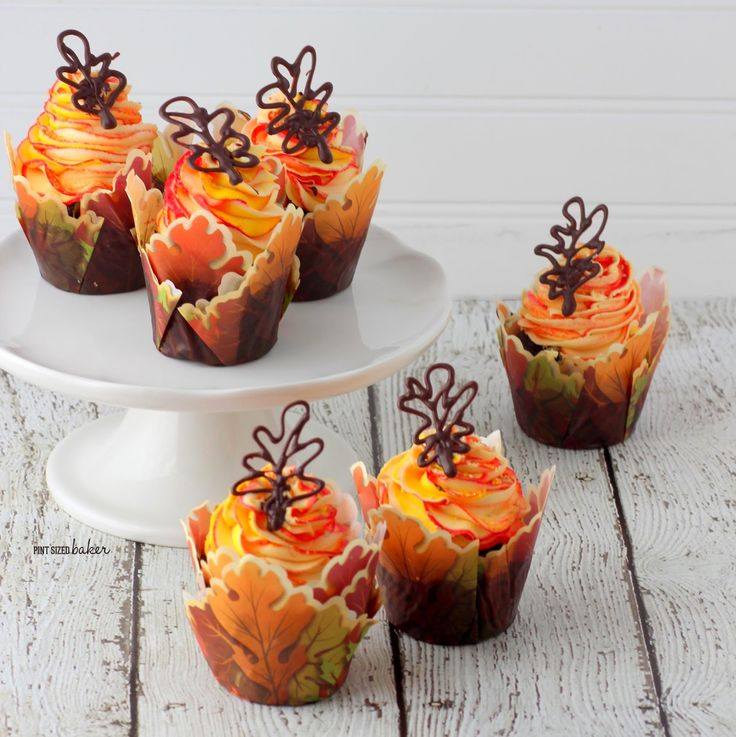 Pint Sized Baker: Fall Leaves Cupcakes