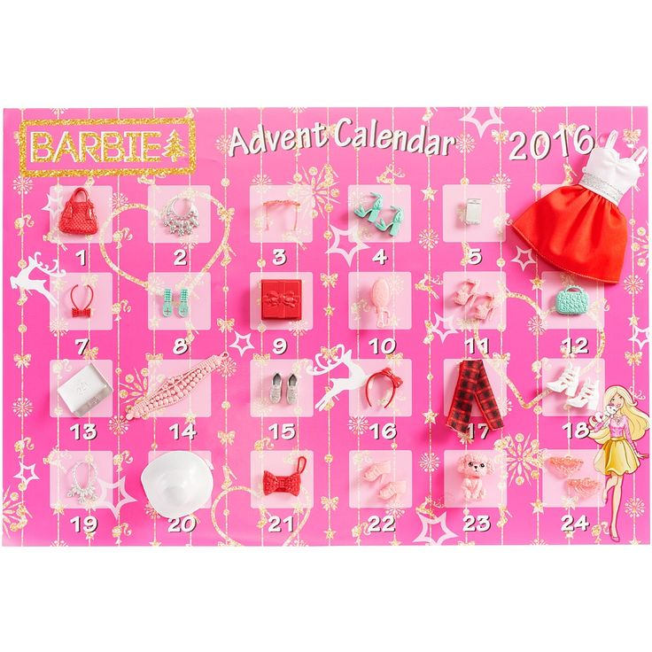 Celebrate the holidays in signature style with the Barbie Advent Calendar! Open a compartment each day -- for 24 days -- to discover a fab Barbie doll fashion (doll sold separately), cool accessories and even a gift for you! With items for Barbie doll, like a party dress, shoes, purses and jewelry, as well as extra-fun pieces like a wrapped present, cell phone and puppy, children will love playing out Barbie dolls busy holiday schedule. And in the 24th compartment, theyll find two cute hair…