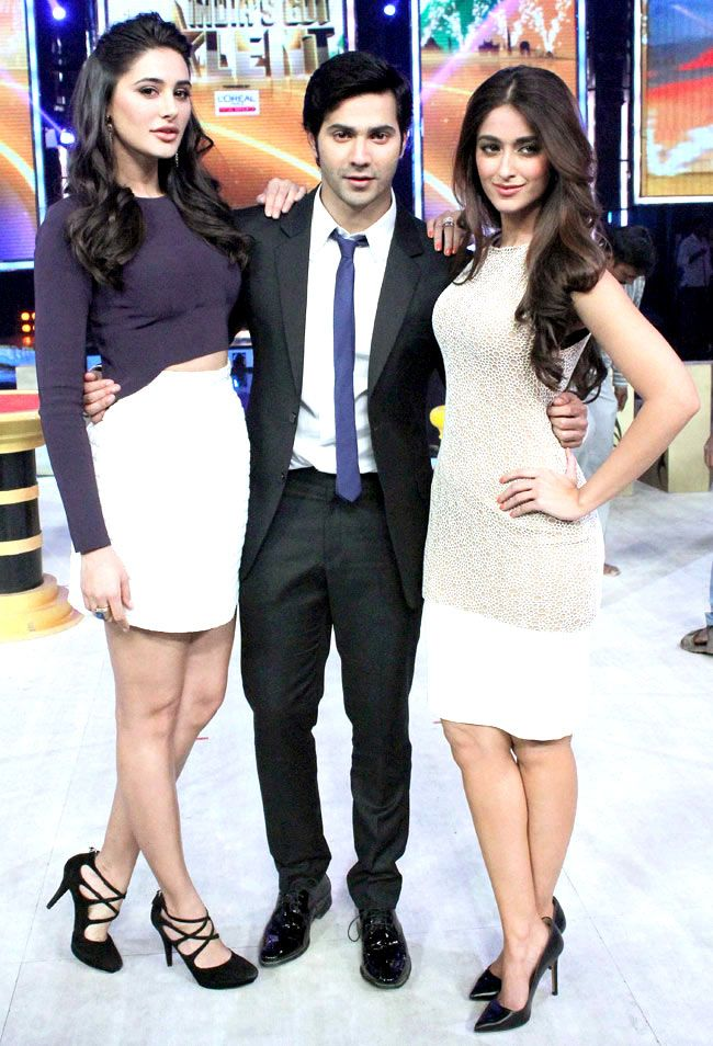 Varun Dhawan with Nargis Fakhri and Ileana D'Cruz on 'India's Got Talent' to…