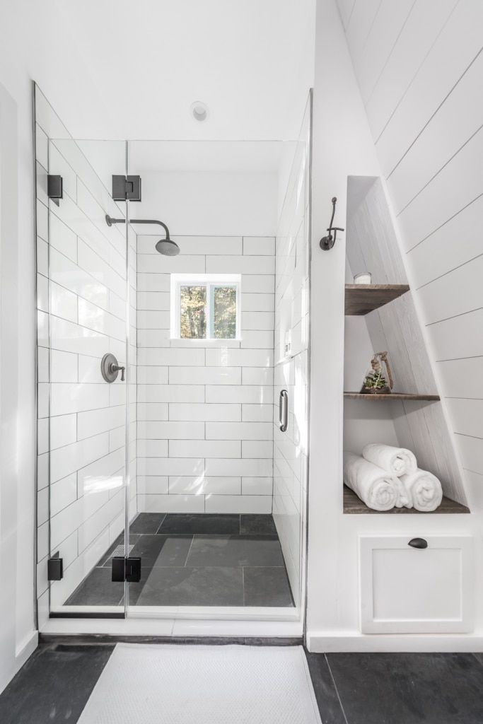 Nate and Michelle wanted to build a new guest bathroom for their second bedroom. Plenty of shiplap, subway tile, and one sliding barn door later, the project was complete. Head on over to the blog for the full story.