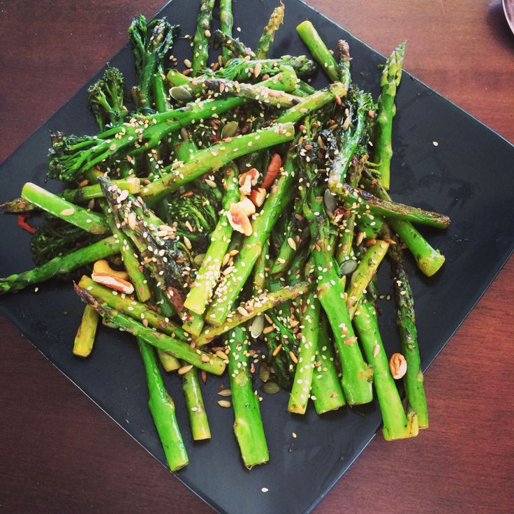 Asparagus & Tenderstem Broccoli in a lemon, chili and garlic dressing topped with roasted assorted nuts.