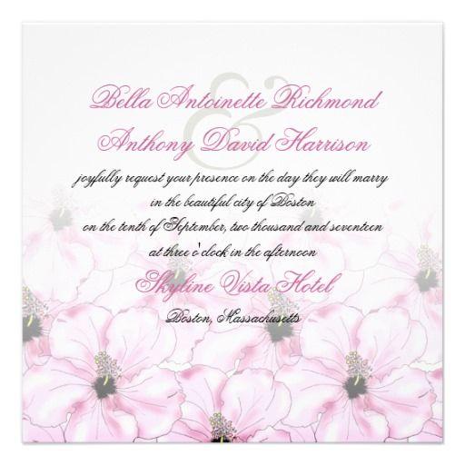 Tropical Pink Hibiscus Square Wedding Invitation