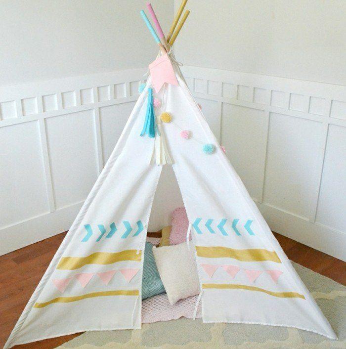 fabriquer un tipi indien tipi arizona zig zag bleu nobodinoz pour chambre enfant les enfants du. Black Bedroom Furniture Sets. Home Design Ideas