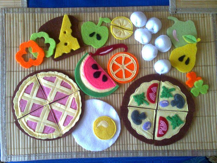 Еда из фетра, овощи, фрукты, пицца, пирог, яичница, пельмени, бутерброд