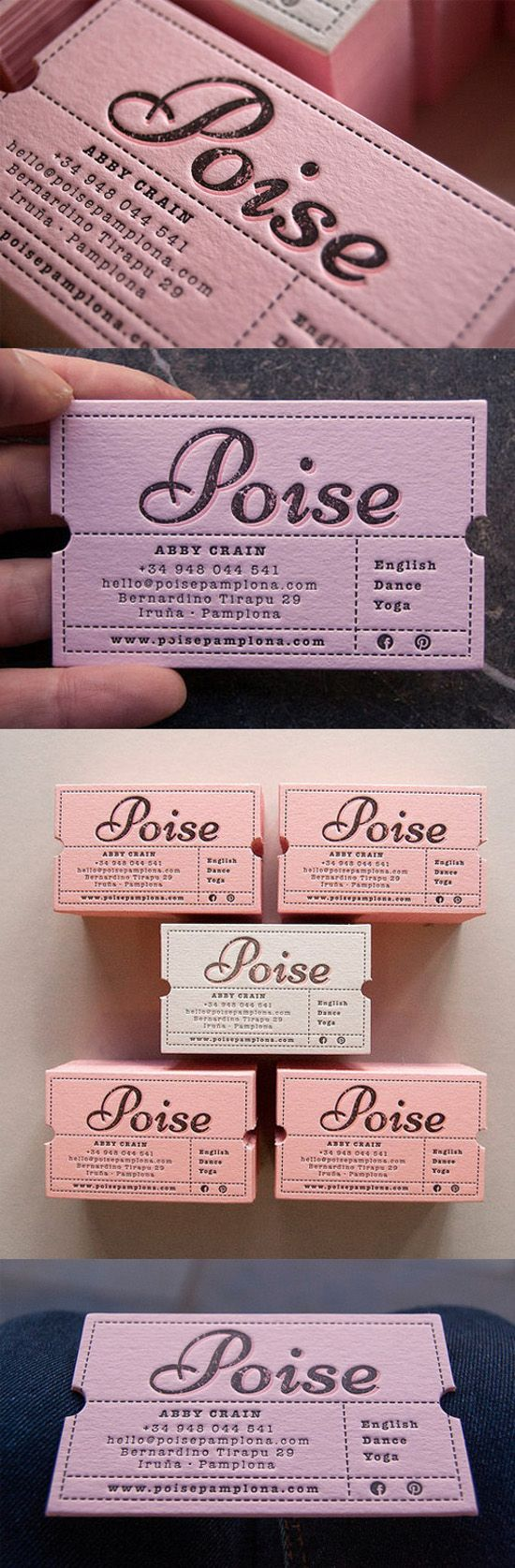 Custom Die Cut Vintage Ticket Style Letterpress Business Card For A Yoga Instructor