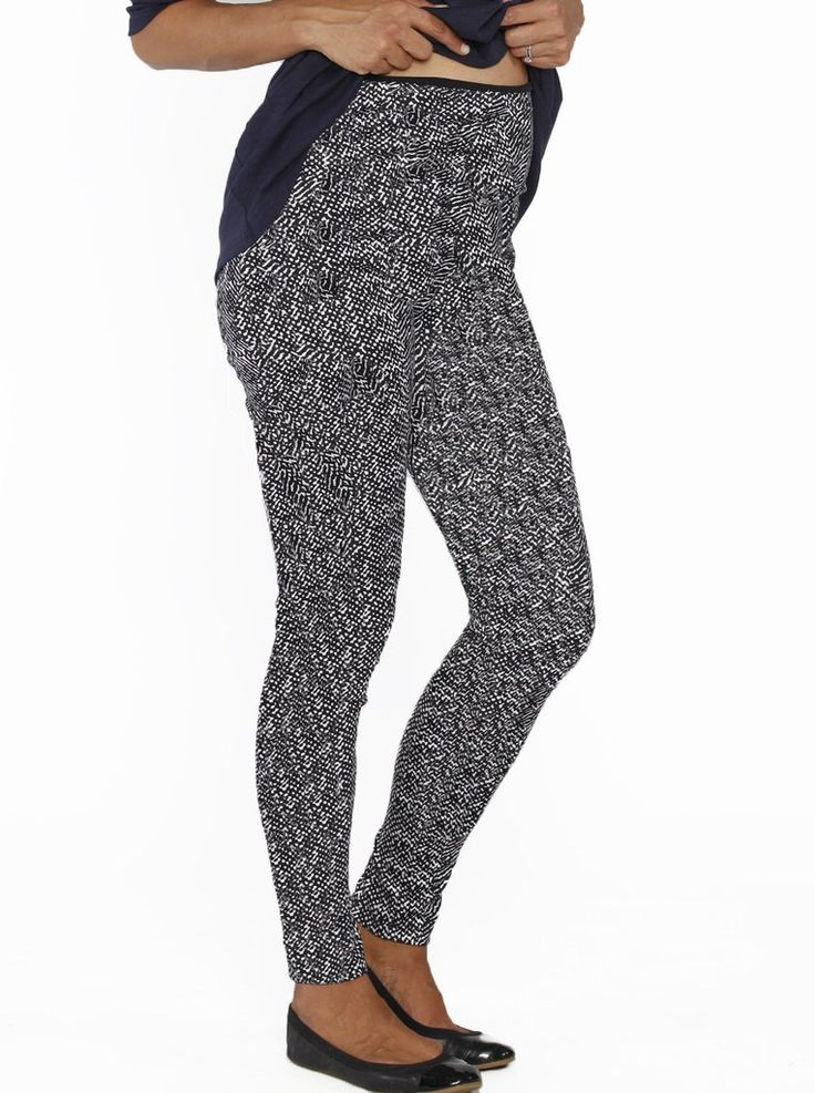 It's business up top, party down below with these Maternity Print Legging in High Waist Band, $34.95.