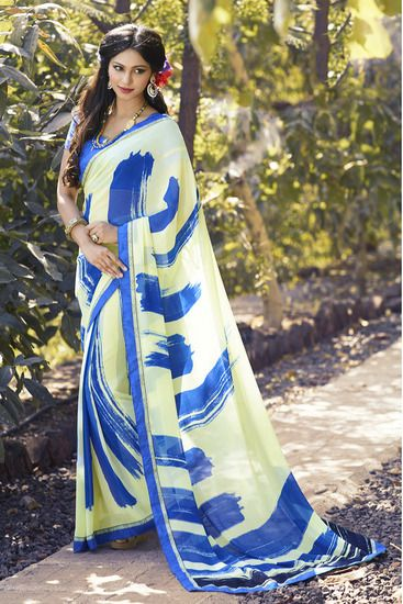 Beautiful Designer Georgrtte Saree By Indian Vogue