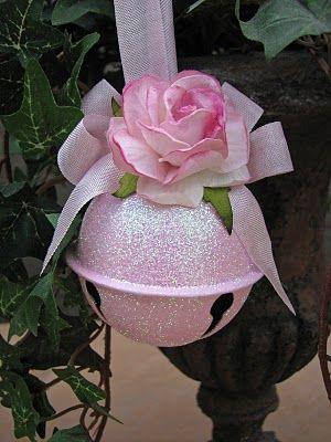 jingle bell ornament - Dollar store bell, spray glitter paint and rosette ribbon