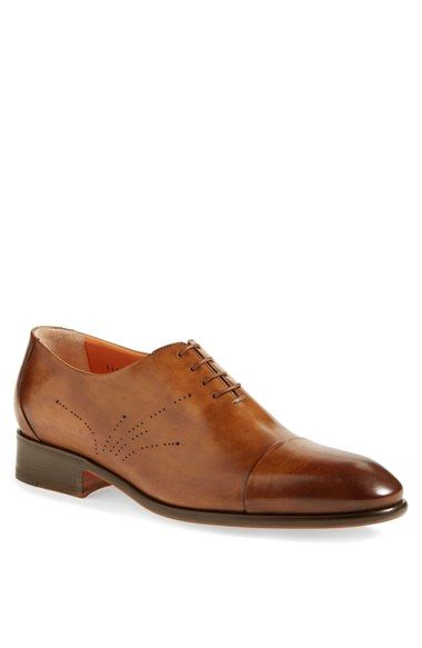 Santoni Vincenzo Leather Cap Toe Shoes