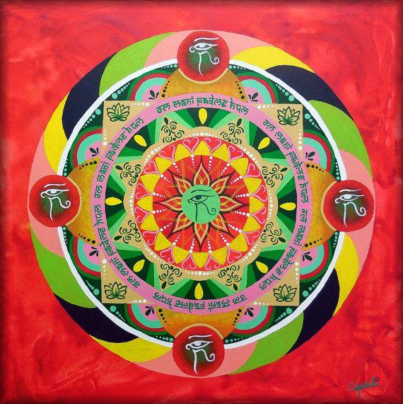 Mandala su tela dipinto a mano con occhi di Buddha e mantra della compassione om mani padme hum.  Fiore di loto su quadro da appendere. By DreamingMandalas formaementis