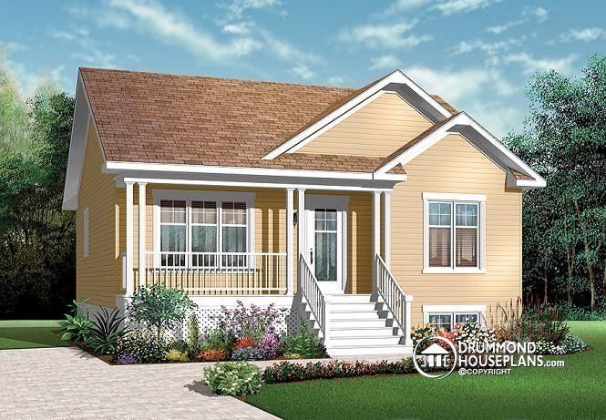 W3122 affordable 2 bedroom transitional style bungalow for Country home plans with basement