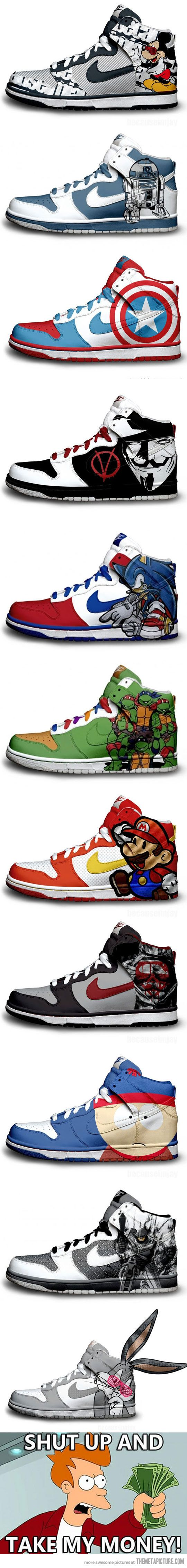 "Nike sneakers, geek designs | ""Geakers."""