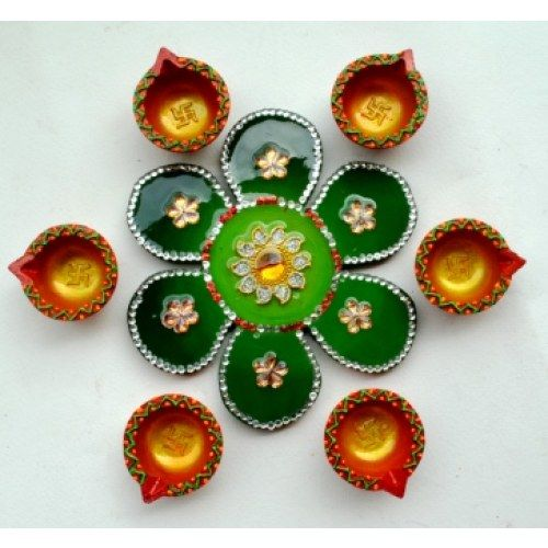 Diwali Lights Online Shop: Green Flower Small Rangoli Patch With 6 Diyas