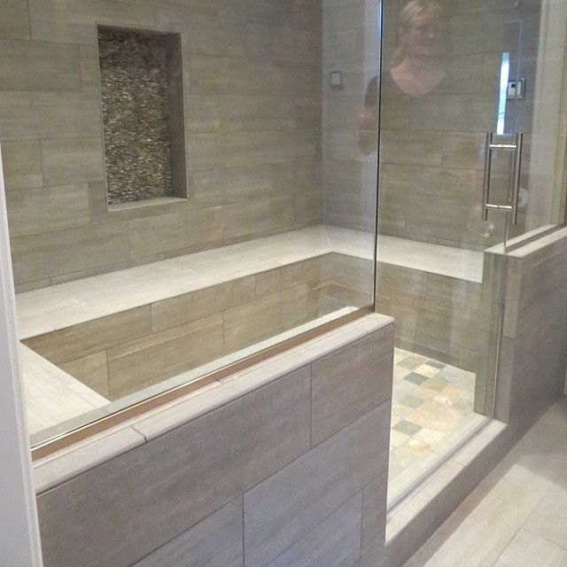 @Tile Sensations - Wood look tile in this Steam Room is a beautiful look! @Coverings Trade Show #coverings25 #ourclient #knoxville #knoxvilletn