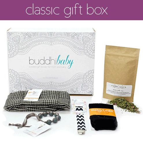 Gift the mom to be in your life with the classic buddhiBaby box. This box is modern, unique,  useful and a fantastic way to celebrate both mom and baby.