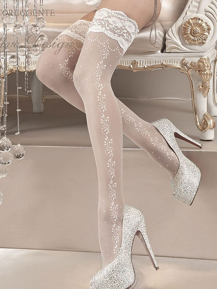 Ballerina 119 Stockings - Beautiful stockings with intricate embroidery  around the top and down the side of the legs.