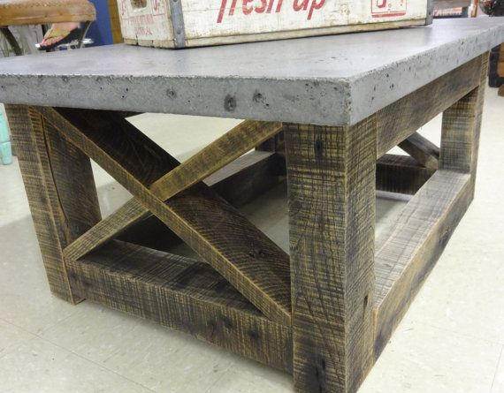 Chunky Reclaimed Wood Coffee Table With Cement Top By OldBleu, $750.00