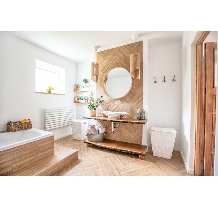 Biel I Drewno W Lazience Leroy Merlin Boho Style Bathroom Bathroom Styling Diy Living Room Decor