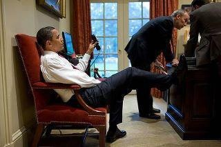 The Resolute Desk was built from the timbers of the HMS Resolute and was a gift from Queen Victoria to President Rutherford B. Hayes. It is considered a national treasure and icon of the presidency.  Obama, you are not in a hut in Kenya, or public housing in Chicago.  GET YOUR FEET OFF OUR DESK!!!