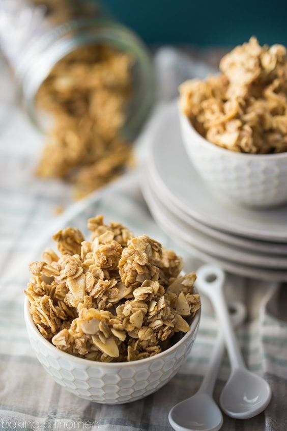 Basic Granola Recipe - try changing out the almonds for pecans & add other ingredients like chocolate chips or dried fruit