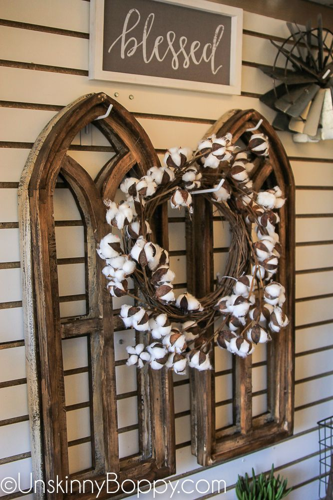 Cotton Wreath And Gothic Arch Windows This Is The Coolest Idea I Ve Ever Seen Farmhouse Decor Served Arched Wall Decor Window Wall Decor Farmhouse Wall Decor