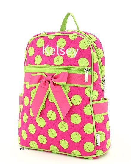 Personalized Kids Backpacks in Pink and Green Polka Dot TODDLER