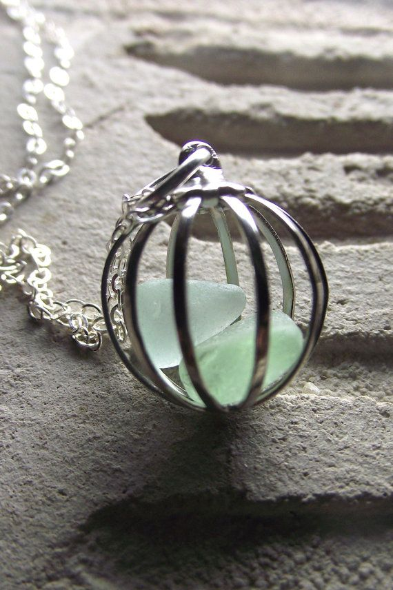 Sea Glass Necklace  Love Birds  Cage Locket by SeaFindDesigns