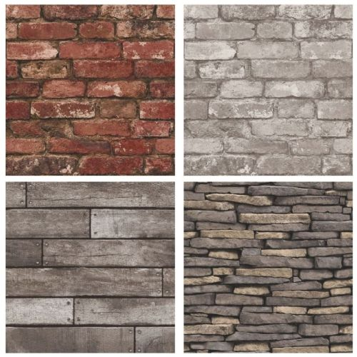 Stone, Brick, Wood & Slate 10m Wallpaper - Amazing themed wall paper décor ideas!