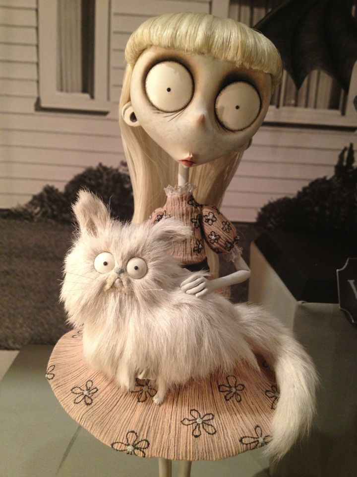 Weird Girl (voiced by Catherine O'Hara) and Mr. Whiskers from Tim Burton's stop-motion animated film, 'Frankenweenie' (2012).