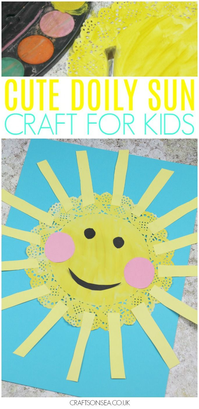 What a cute doily sun craft! This easy craft for kids is perfect as a spring craft or for summer (and maybe weather units too?!) plus it cost only pennies to make and you can use it to help kids with their scissor skills. Perfect for toddlers, preschoolers and older kids too! #kidscrafts #kidsactivities