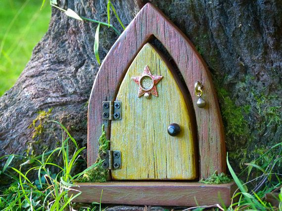 Opening Wooden Fairy Door Bronze and Yellow Fairy Door with