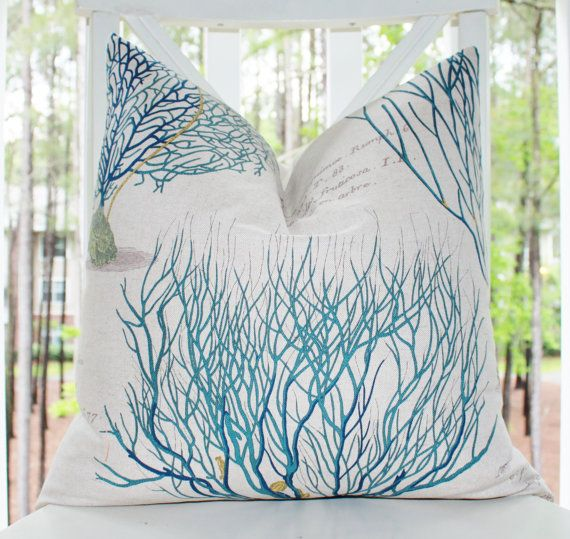 Blue Coral Throw Pillow : Designer Blue Green Pillow - Blue Coral Sea Fan Turquoise Teal Deep Blue Pillow Cover - Throw ...