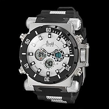 estilo militar reloj multifuncional de los hombres resistentes dual zonas horarias agua – USD $ 44.99