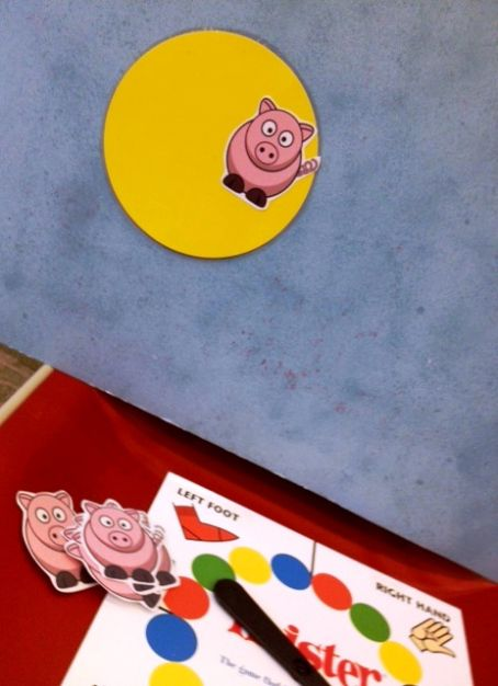 Wheel of Pigs game-Love this!  1234 More Storytimes