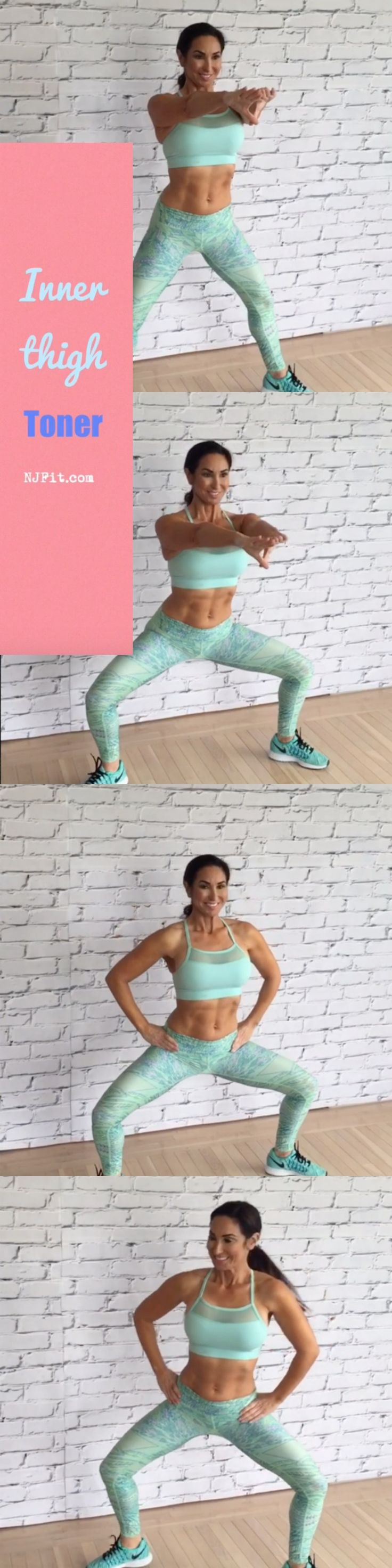 Time to work those inner thighs with this inner thigh toner! pliée squats (60 seconds) pliée squat pulses (60 seconds) pliée squat walks (60 seconds) Are you IN?! Click the image to follow the workout video.