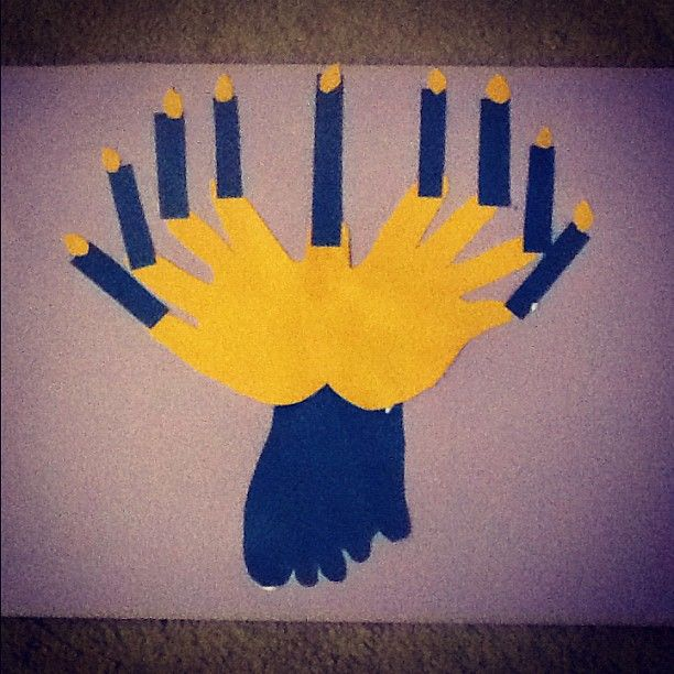 Hand foot menorah toddler chanukah craft holiday for Hand and foot crafts