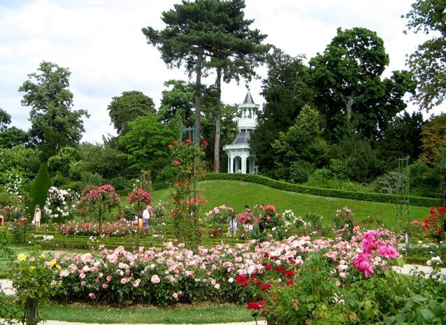 "Rosariums in Paris are blooming early this year. Pictured: the rosarium at Bagatelle gardens (actually closed til June 6 because of a special ""green exhibit""). Other rosariums in Paris can be found at Jardin Albert Khan, Jardin de Plantes (free everyday) and the garden at the Musée Rodin."
