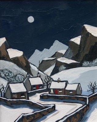 British Artist David BARNES-Winter Road