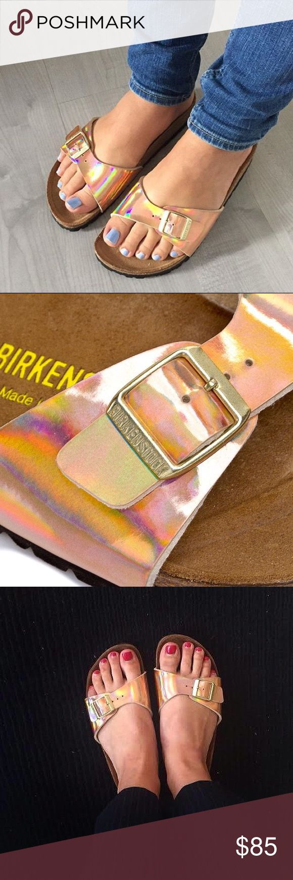NWT Birkenstock Madrid Rose Gold 36 Sandals Mirror Features: Birkenstock Sandals Fit: Narrow fit - Designed for narrow feet Single strap sandal with adjustable buckle for comfort Birko-Flor upper Shaped cork and latex foot bed Shock-absorbing EVA sole Branding to the footbed Built-in arch support Toe grip for added support & comfort Deep heel cup keeps your foot properly aligned Material: Leather, cork, EVA Birkenstock Shoes Sandals